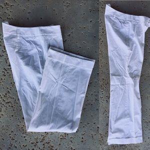 Halogen Summer White Cotton Cuff Trouser Pants 10